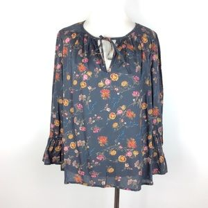 Lucky Brand Floral Boho Bell Sleeve Blouse Size M